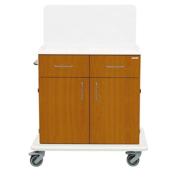 Chariot de soins et de travail Medicart avec paroi arrière et deux portes et tiroirs CHËNE CLAIR